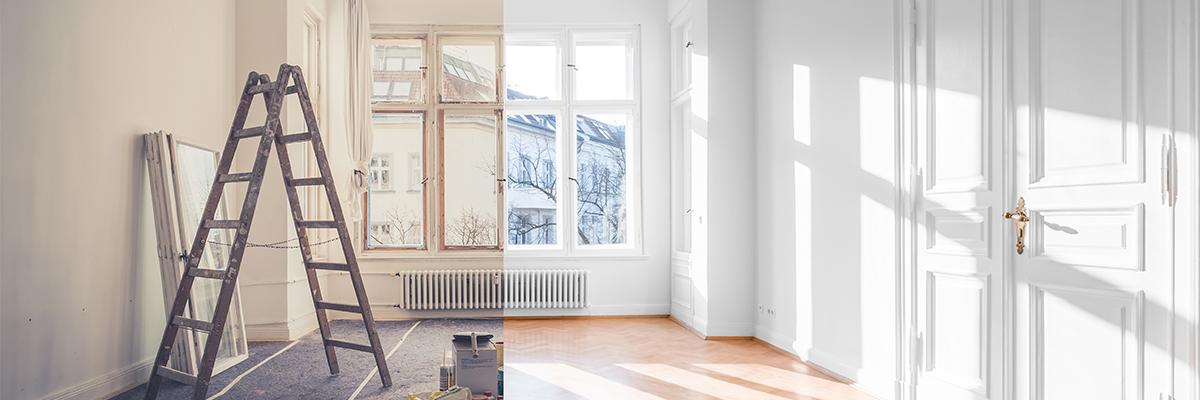 Chambre fraîchement nettoyé après la construction
