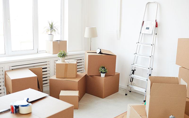 Chambre après rénovation avec cartons non emballés